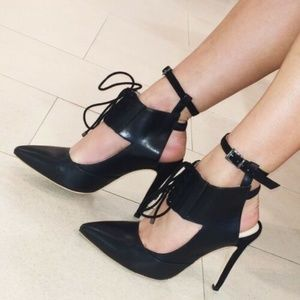 ALEPEL Chaine Leather & Suede High Heel Pumps